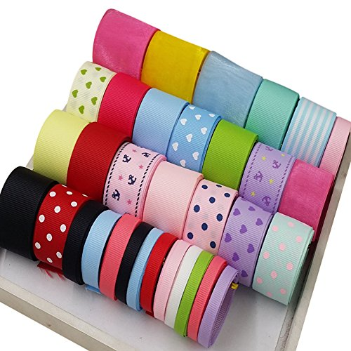 Bivens 32 pcs Grosgrain Ribbon Hand-making Materials Package Hair Clip Bow Hair Accessories DIY Headdress Material