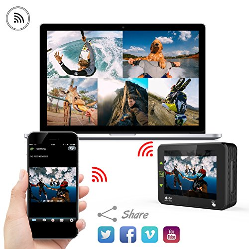 """51xjO9iMmaL - DBPOWER N6 4K Touchscreen Action Camera, 2.31"""" LCD Touchscreen 20MP Sony Image Sensor 170° Wide-Angle Waterproof WiFi Sports Camera, 2 Batteries included in Accessories Kit"""