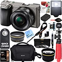 Sony Alpha a6000 24.3MP Wi-Fi Mirrorless Digital Camera + 16-50mm Lens Kit (Grey) + 64GB Card + DSLR Photo Bag + Extra Battery + Wide Angle Lens + 2X Telephoto Lens + Flash + Remote + Tripod