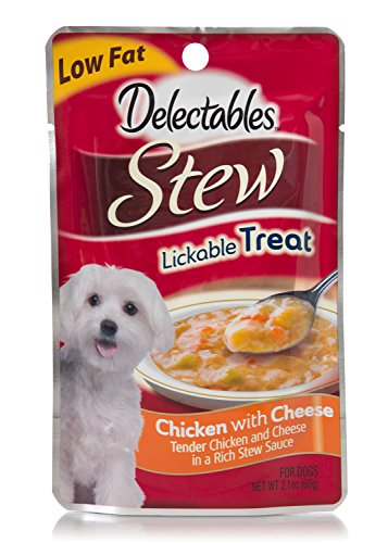 Delectables Lickable Dog Treat, Stew, Chicken with Cheese, 2.1 oz (Pack of 12)