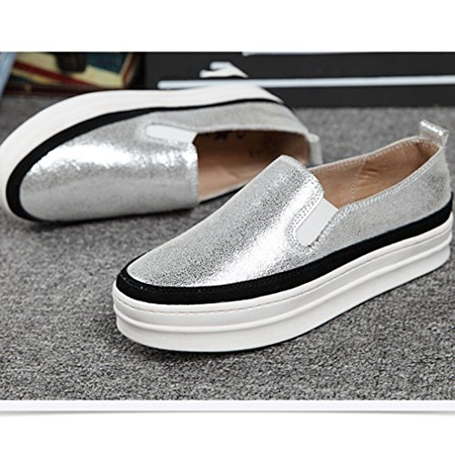 Round On Top Platform Slip Womens Casual Silver Rubber Shoes Sole Heels Low Toe Loafer Low Hoxekle xqY7wXa4X