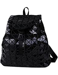 Geometric Lattice Backpack Travel School Bag Drawstring Rucksack for Women Biker Teens (Black)