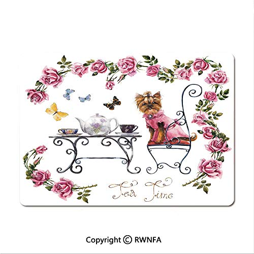 Non-Slip Rubber Base Mouse pad Yorkshire Terrier in Pink Dress Having a Tea Party Tea Time Butterflies Roses Decorative(8.3