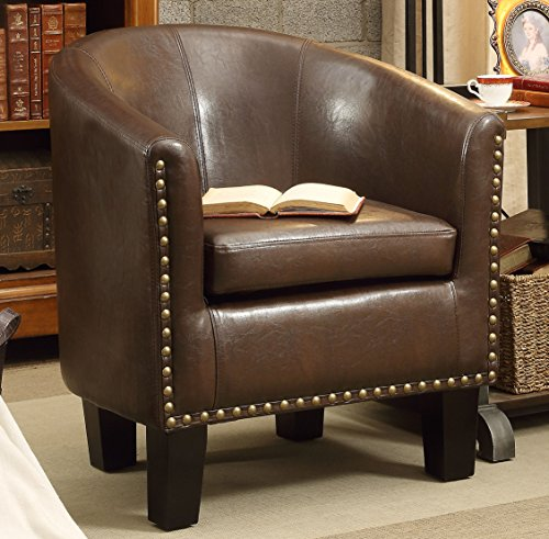 Millbury Home Isabela Arm Club Chair, PU Leather Barrel Modern Chair, Espresso (Espresso Living Room Chair compare prices)