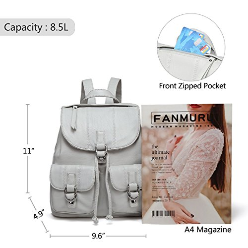 Flap white Backpack Leather Backpack Women for College for with Front Mini VASCHY Purse Fashion Buckle Two Faux Pockets nbsp;Drawstring wUAg8