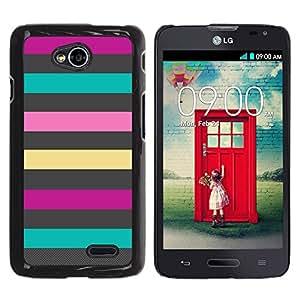 ZONECELL Negro Borde Trasera Funda Imagen Carcasa Diseño Tapa Cover Skin Case para LG Optimus L70 / LS620 / D325 / MS323 - líneas grises patrón verano púrpura rosa teal