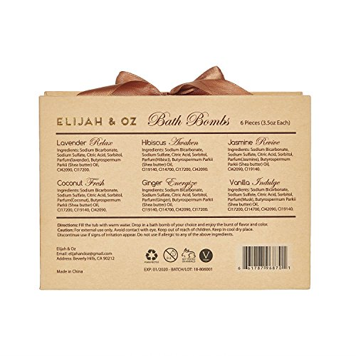 Bath Bombs Gift Set - Handmade Spa Fizzies for Relaxation & Aromatherapy - With Organic, Natural Essential Oils and Shea Butter - Vegan & Cruelty-Free (Set of 6)- By Elijah & Oz by Elijah & Oz (Image #6)
