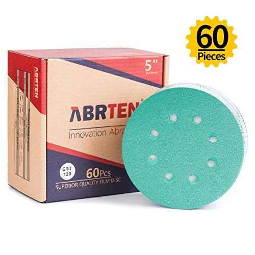 ABRTEN 5-inch 8 Holes 120 Grit (60 Pieces) Power Sander Hook & Loop Sanding Discs Sandpaper By Blue Fired Aluminium Oxide For Car Paint Refinishing & Wood or Metal sanding and polishing