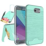 Galaxy J7 V 2017/ J7 Perx/J7 Prime/J7 Sky Pro/Halo Case with HD Screen Protector,NiuBox[Card Slot Wallet][Kickstand] Full Body Shock Absorption Protective Phone Case for Samsung J7V 2017-Turquoise