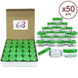 5ml jar - (Quantity: 50 Pieces) Beauticom 5G/5ML Round Clear Jars with GREEN Lids for Scrubs, Oils, Toner, Salves, Creams, Lotions, Makeup Samples, Lip Balms - BPA Free