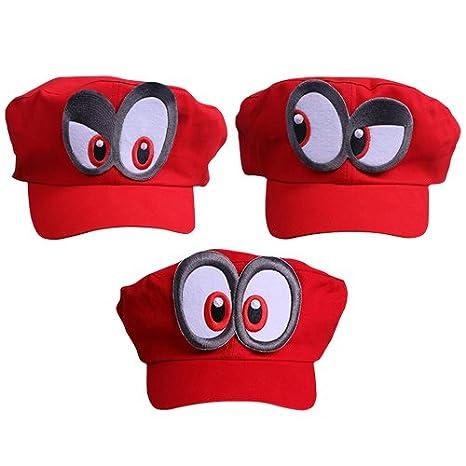 3x Super Mario gorra Odyssey - Costume para adultos y niños - Perfecto para el Carnaval y el Cosplay: Amazon.es: Juguetes y juegos