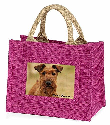 Advanta–Mini Pink Jute Tasche Irish Terrier Hund Yours Forever Little Mädchen klein Einkaufstasche Weihnachten Geschenk, Jute, pink, 25,5x 21x 2cm