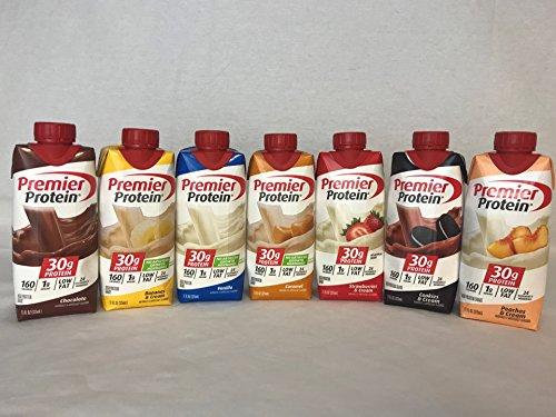 New Premier Protein High Protein Shakes Variety Pack (Chocolate, Vanilla, Strawberry & Cream, Bananas & Cream, Caramel, Peaches & Cream, Cookies & Cream - 11 fl. oz., 7 ()
