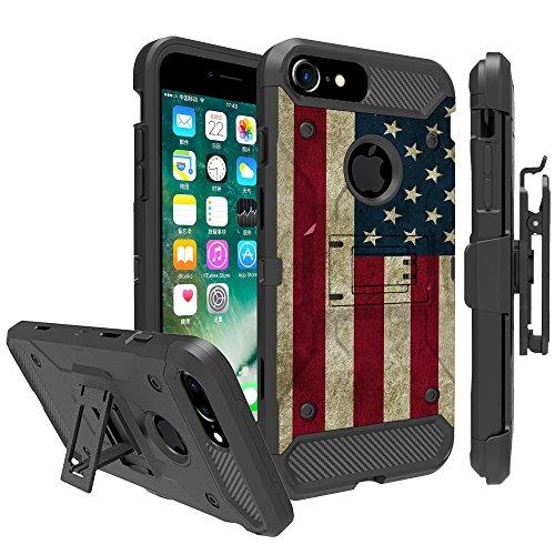 Untouchble Case for Apple iPhone 6, iPhone 7, iPhone 8 (4.7) Case Holster Case [TANK SERIES] Built Tough Triple Protection Inner TPU Hard Exterior Shell Belt Clip - Vintage American Flag