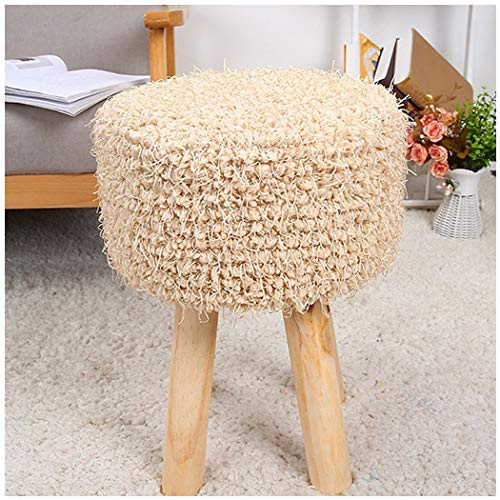 YONGYONG-hammock Four-Foot Stool Hair Change Shoe Stool Low Stool Home Round Stool Plush Stool Simple Solid Wood 303045CM (Color : 4, Size : - Bench Sauna 4'