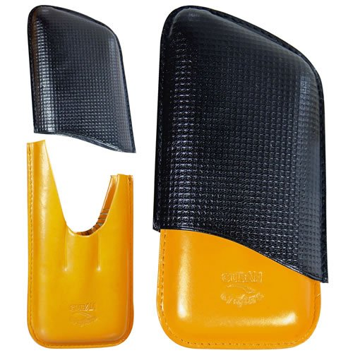 3 Finger cigar leather case - Black and Yellow- genuine Italian - Leather Italian Cigar Cases