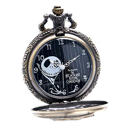 Nightmare Before Christmas Watch - Steampunk Antique The Nightmare Before Christmas Mens Womens Quartz Pocket Watch Necklace Chain Gifts for Xmas