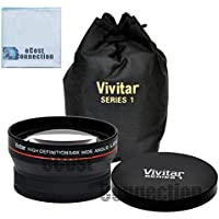 Vivitar Pro Series 58mm 0.43x Wide Angle High Definition Lens + Microfiber Cloth for Canon EF-S 18-55mm 3.5-5.6 IS II Lens, Canon EF-S 18-55mm 3.5-5.6 IS STM Lens, Canon EF 75-300mm 4-5.6 III USM Lens and Other Models