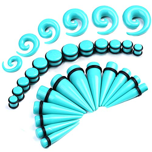 BodyJ4You 36PC Big Gauges Kit Ear Stretching 00G-20mm Turquoise Spiral Tapers Plugs Body Set