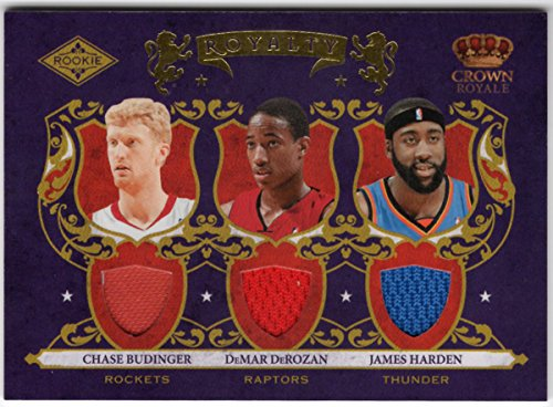 James Harden DeMar DeRozan Chase Budinger 2009-10 Panini Crown Royale Rookie Triple Jersey Serial #485/499