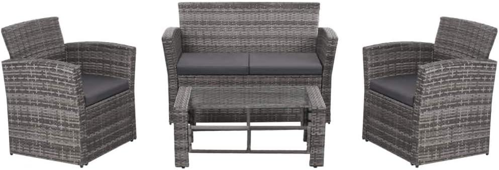 Namotu vidaXL 4-TLG. Garten-Lounge-Set mit Auflagen Poly Rattan Grau