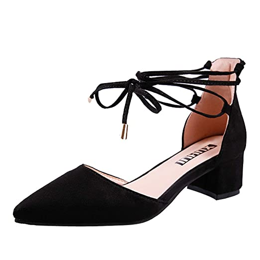 69d27cec8863 Boomboom Casual Bandage Lace Up Shoes Women Pointed Toe Square Heel Sandals (Black