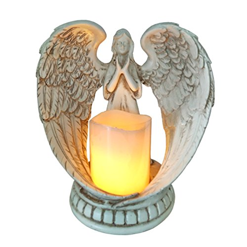 Fifriver Guardian Angel Statue Figurines Collection Resin Praying Angel Wings Sculpture Decorations Baby Girl Boy Mom Child Angel Statue Home Decor (Figurine Peace Angel Wings)