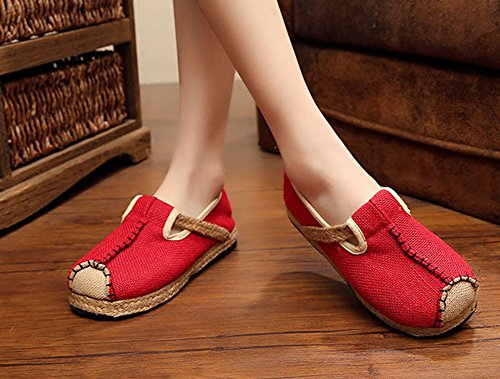 MISSMAO Womens Handmade Vintage Chinese Style Shoes Flat Espadrilles Slip On Red BkBLuV