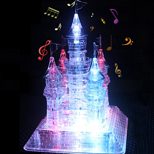(Crystal Castle, 3D Sparkle Music Model Transparent Castle Puzzle Christmas Gift for SainSmart DIY, 105pcs Beautiful LED Lights)