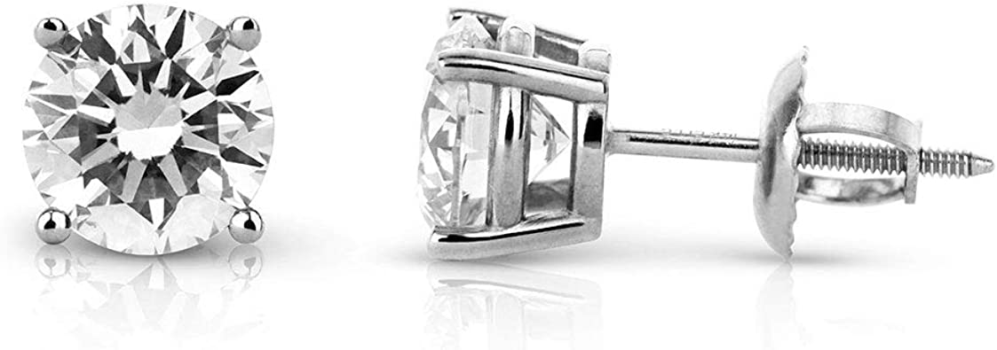 Brilliant Round Cut Gemstone 14K White Gold Plated Engagement Stud Earrings For Girls /& Womens