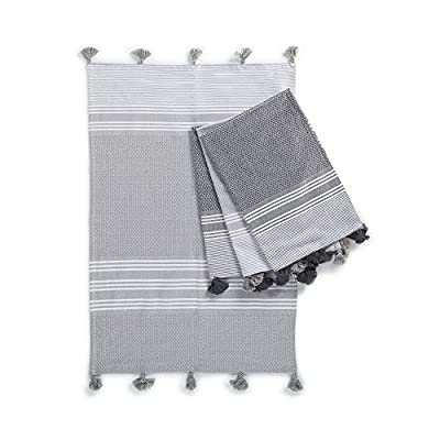 "Kuprum Rhodes 100% Turkish Cotton Set of 4 Hand Towels 20""x30"" Peshkir Set Peshtemal Fouta Sauna Spa Yoga Pilates Gym Beach Pool Striped Towels (2 Dark Gray - 2 Gray) - Jacquard woven with traditional pestemal weaving patterns and tassels, 20""x30"" Fast drying, great for preventing mildew Highly absorbent yet light and easy to carry, durable pestemal made in Turkey - bathroom-linens, bathroom, bath-towels - 51xjS0NhctL. SS400  -"