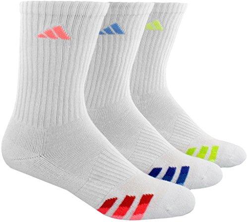 adidas Women's Cushioned Retro Crew Socks (3-Pair), White/Light Flash Red/Collegiate Light Blue/Frozen, Medium, (Shoe Size 5-10)