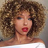 ForQueens Afro Wigs For Black Women Short Kinky Curly Full Wigs Brown Mixed Blonde Synthetic Heat Resistant Wigs For African Women With Wig Cap