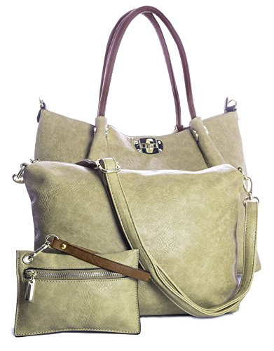 Big Handbag Shop Womens 3 in 1 Top Handle Vegan Faux Leather Tote Shopper Twist Lock Shoulder Bag - Large Beige