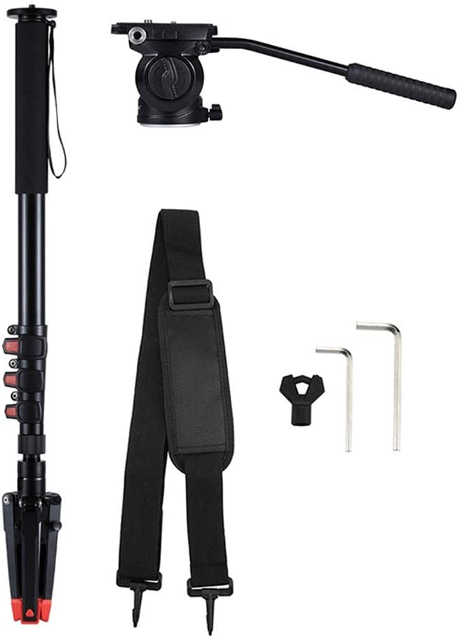 Tripods Monopods Xllcrh Four-Section Telescoping Aluminum-Magnesium Alloy Self-Standing Monopod with Support Base Bracket