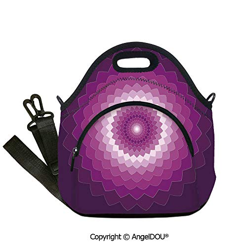 - AngelDOU Purple Fashoniable Work Lunch Bags Graphic Carnation Flower Symbol Optical Illusion Symmetric Vibrant Display Outdoor Travel Picnic Beach Party.12.6x12.6x6.3(inch)