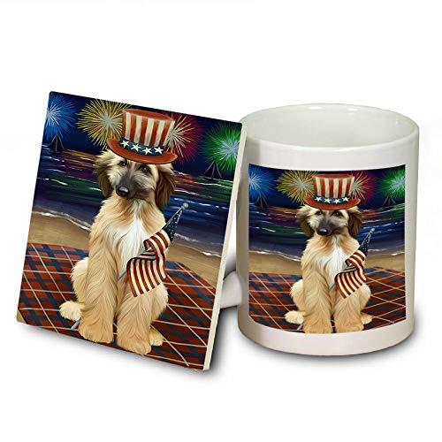 4th of July Independence Day Firework Afghan Hound Dog Mug and Coaster Set MUC52378 (Dishwasher Safe Coasters Independence)