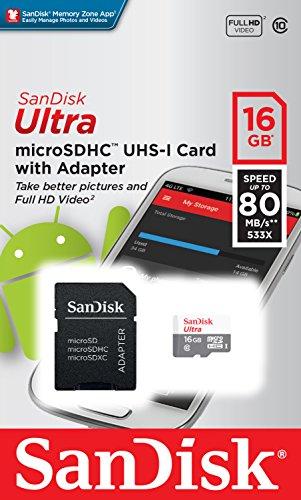 SanDisk Ultra - Tarjeta de memoria , Android microSDHC de 16 GB + adaptador SD con hasta 80 MB/s y Class 10 8