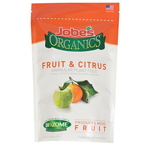 Jobe's Organics Fruit & Citrus Fertilizer with Biozome, 3-5-5 Organic Fast Acting Granular for All Fruit and Citrus Trees, 1.5 pound bag
