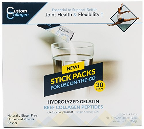 Collagen Peptides | Hydrolyzed Gelatin 30 Count Stick Packs - CLEAN COLLAGEN® -Pasture Raised - Grass Fed - Paleo - Non GMO - Highly Soluble - Kosher - Unflavored Powder by Custom Collagen