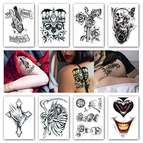 c48d3718c Kotbs 8 Sheets Temporary Tattoos Crown Skull Scythe Death Waterproof Temporary  Tattoo Sticker for Women Men