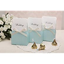 Pack of 100 Elegant Bowknot Wedding Favor Candy Box 2 color (Blue)