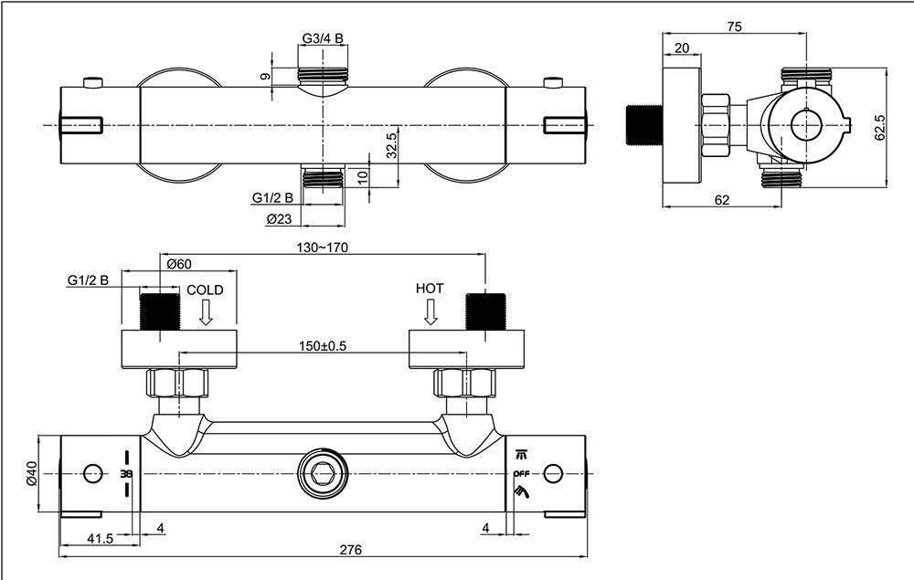 OXEN 150994 Grifo termost/ático Redondo para Columna de Ducha