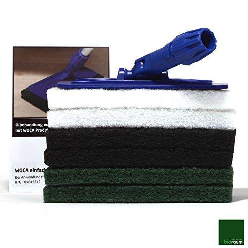 Woca Padhalter mit Stielaufnahme für Superpad und Normalpad 250 x 115 mm inkl 6 Superpads: je zwei Superpads weiß , grün und schwarz von bioraum inklusive Anleitung