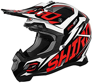 Shiro mx-917 casco, Thunder, color rojo, tamaño M