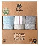 Organic Bandana Baby Bibs Set E by Kishu Baby, Reversible Organic Dribble Bibs 3-pk, One Size Multicolor
