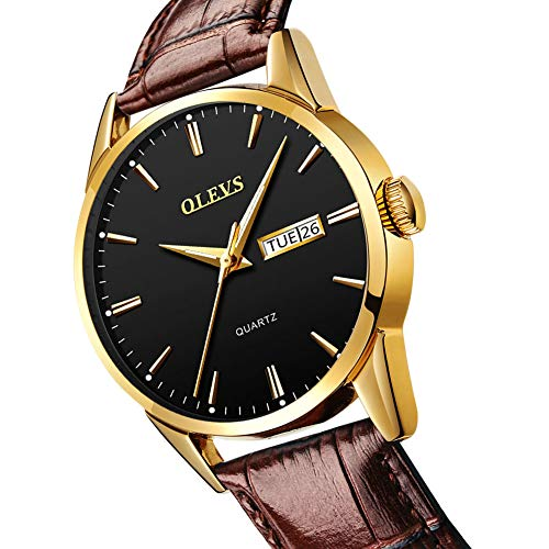 Men's Quartz Day Date Watch with Brown Leather Band,Mens Sport Casual Fashion Business Wrist Watch,Classic Gold Dress Watches for Men,Water Resistant Luminous Wristwatch,Black Dial