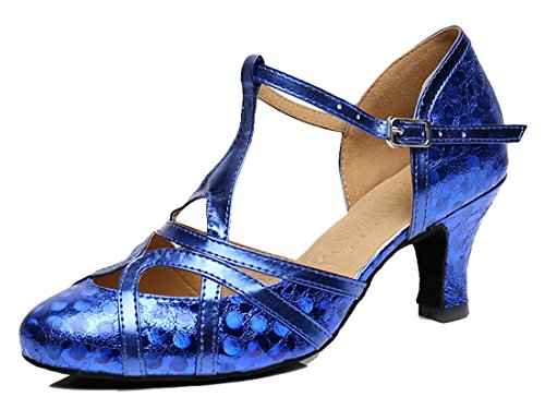 TDA Womens T-strap Glitter Synthetic Salsa Tango Ballroom Latin Party Dance Shoes CM101 6cm Printing Blue