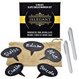 meat cheese tray - Cheese Markers Set of 7 - 5 Cheese Labels Made of Natural Slate & 2 Chalk Markers, Advanced Cheese Name Tags, Kitchen Tool, Fancy Housewarming & Hostess Gift