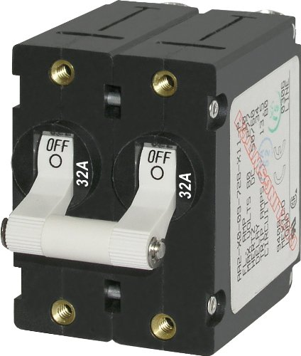 Blue Sea Systems A-Series White Toggle Double Pole 32A Circuit Breaker